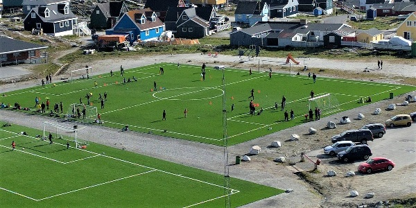 Soccer field in artificial turf in Nuuk