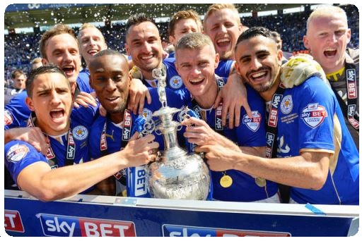 Leicester City Football Club hold English Premier League Cup high