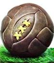 Soccer ball, retro leather with stitching