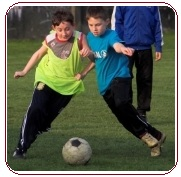 Soccer set plays, two boys