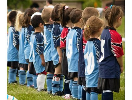 U 6 soccer drills for kids - lined up