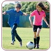 Soccer warm-up boy and girl